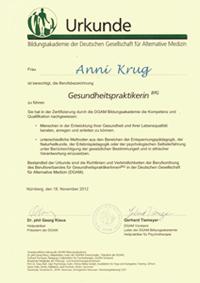Urkunde Gesundheitspraktikerin Anni Krug